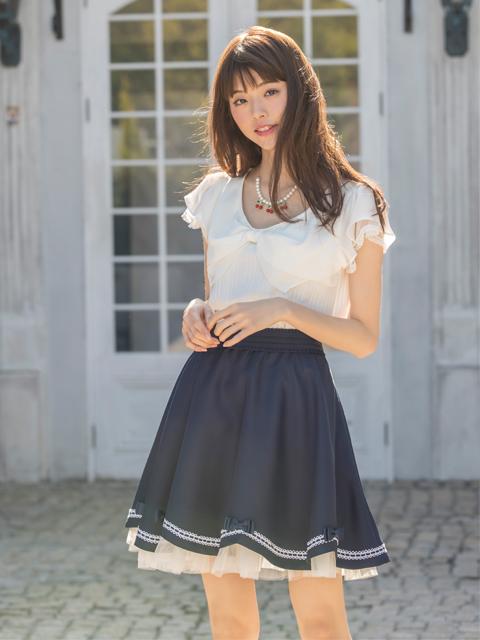 裾リボンフレアスカート