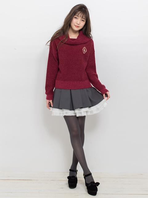 裾プリーツストライプスカート